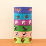 可愛い動物のイラストのマスキングテープ